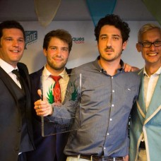 From left: Co-founder George Johnson, 2013 Antiques Young of the Year Timothy Medhurst, James Gooch the Antiques Young Gun of the Year for 2014, and co-founder Mark Hill.